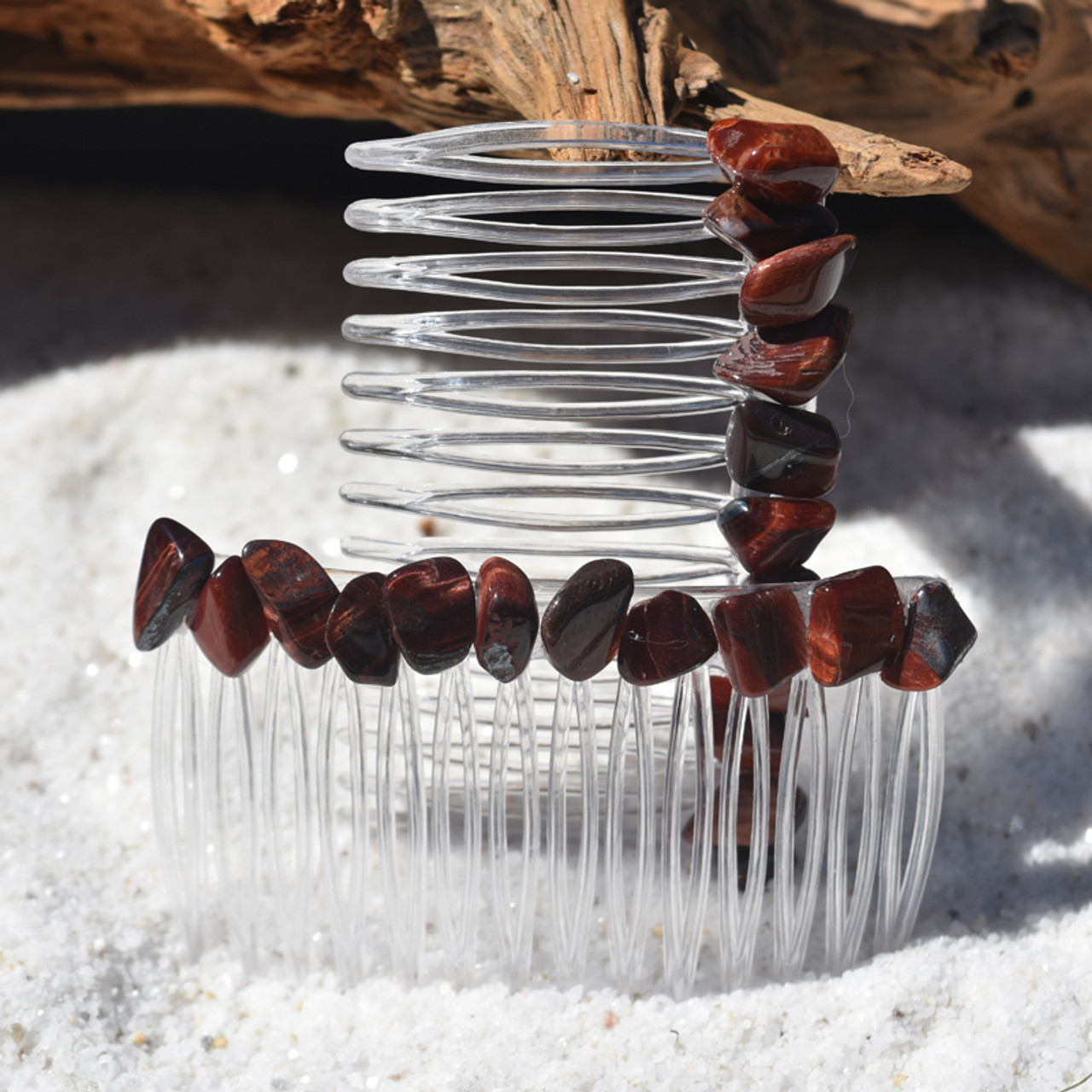Tumbled Red Tiger's Eye Hair Combs