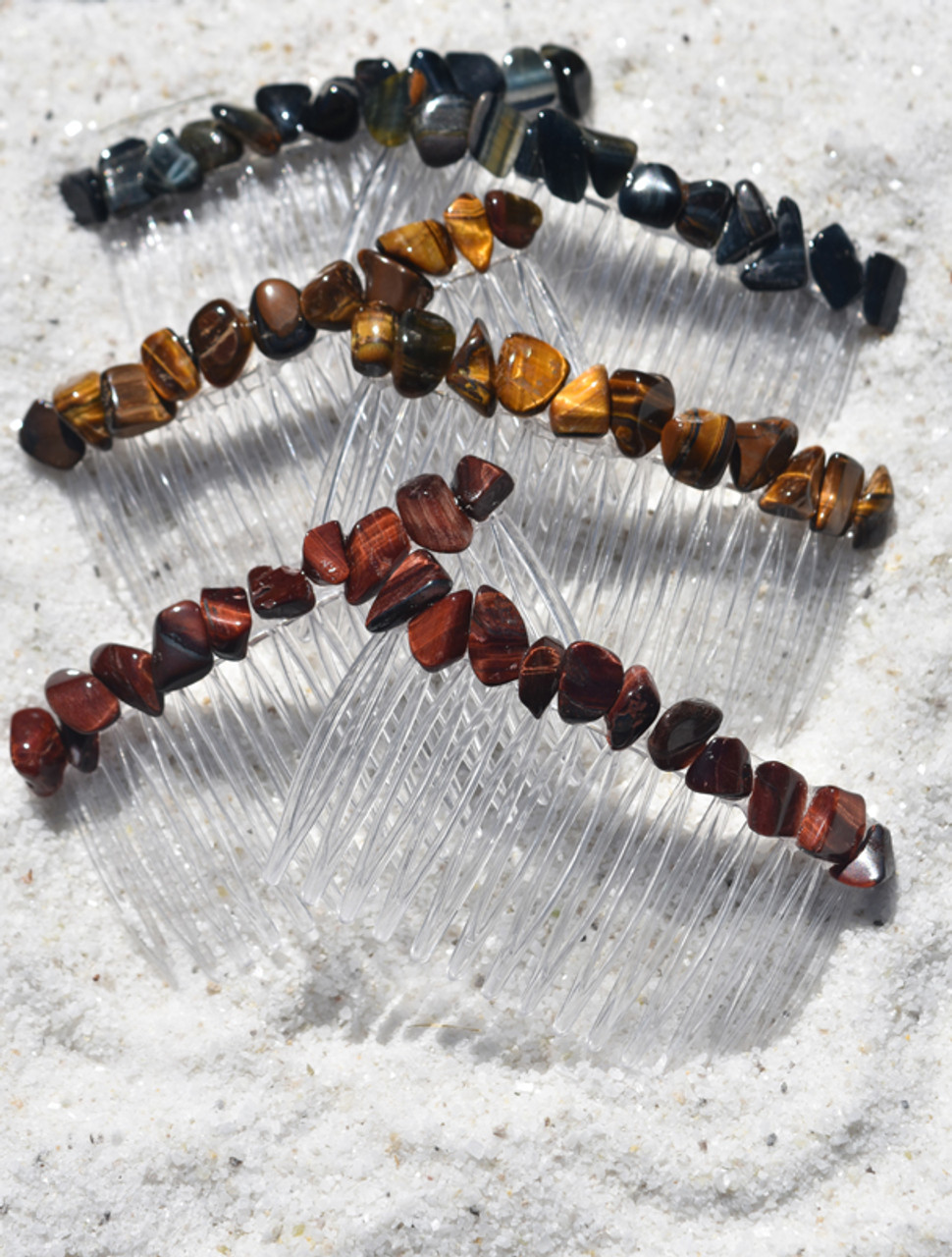 Trio of Tiger's Eye Hair Combs Sets