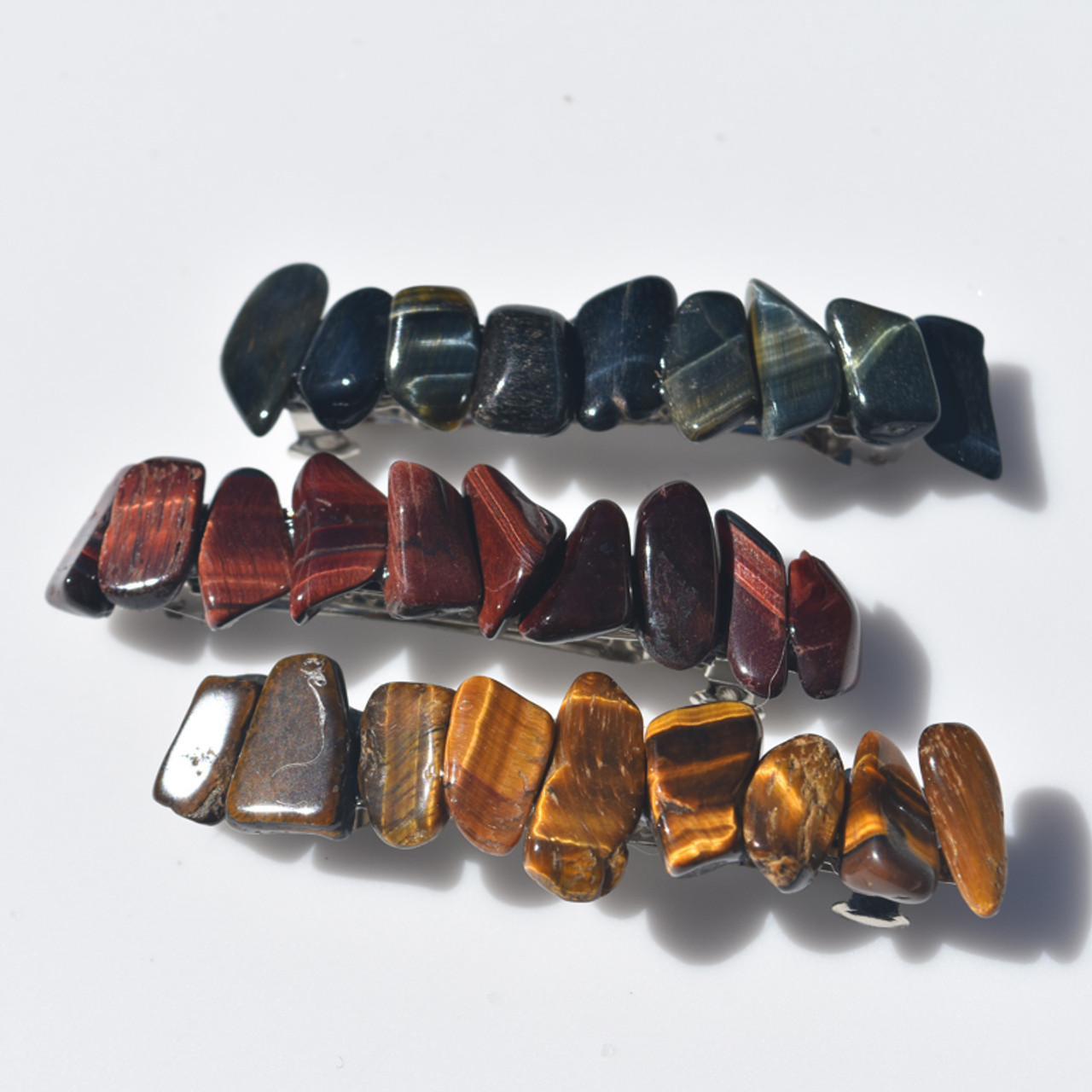 Trio of Tiger's Eye French Barrette Hair Clips
