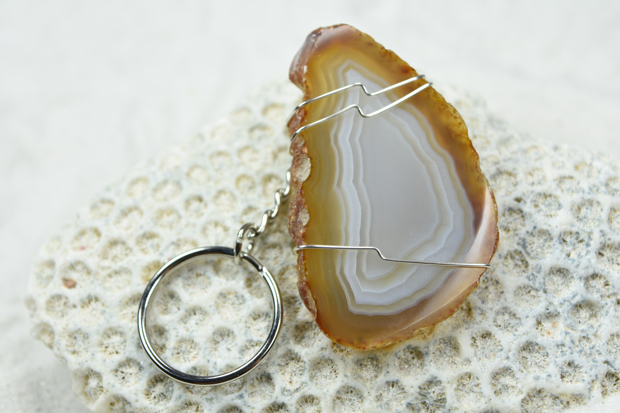 Wire Wrapped Natural Agate Slice Keychain