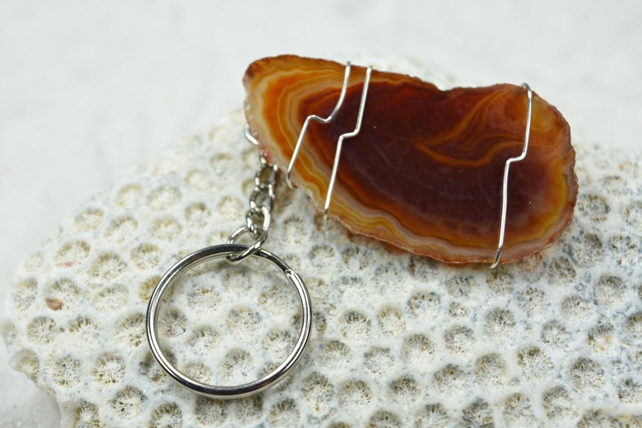 Agate Slice Keychain