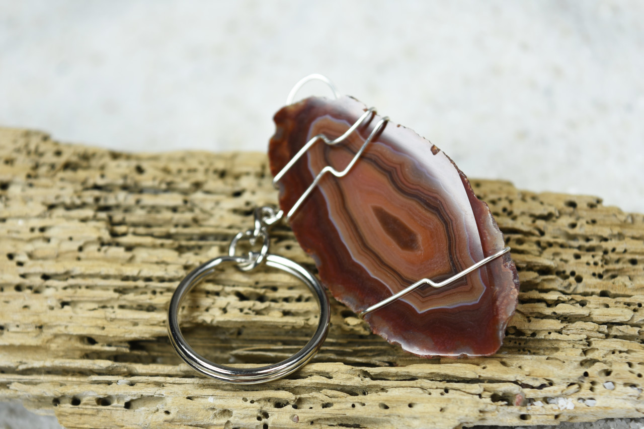 Natural Agate Slice Keychain