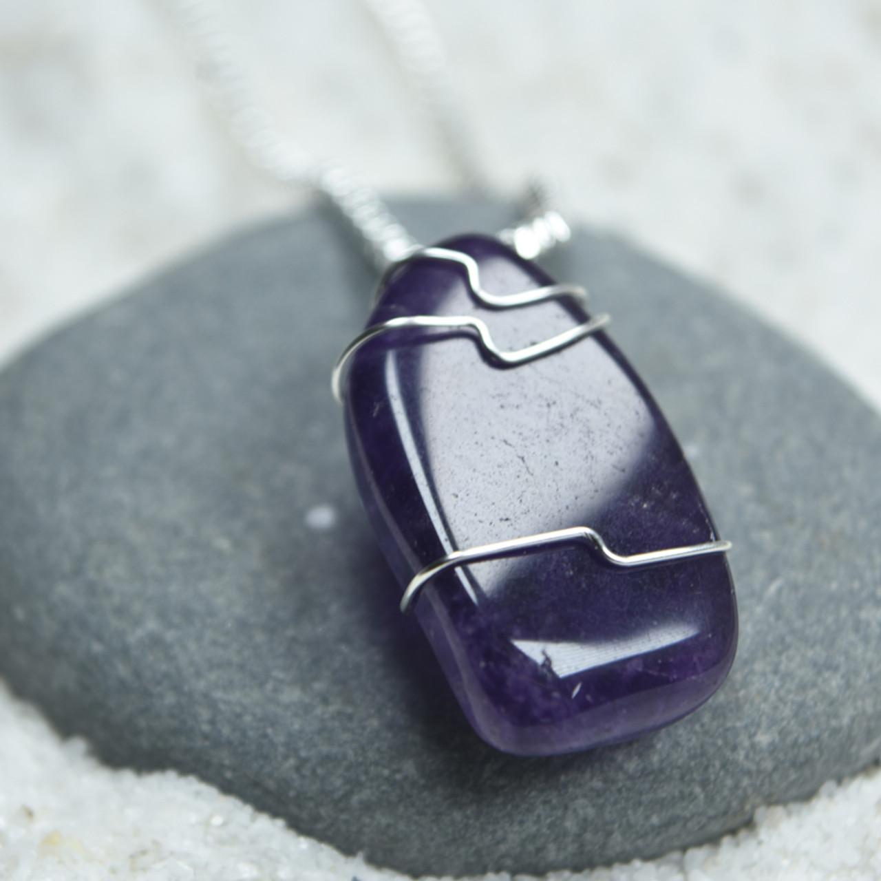 Tumbled Amethsyt Stone Necklace