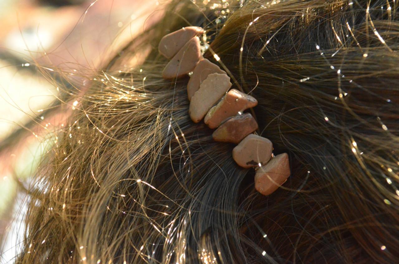 Ivory Jasper Stone Hair Clip