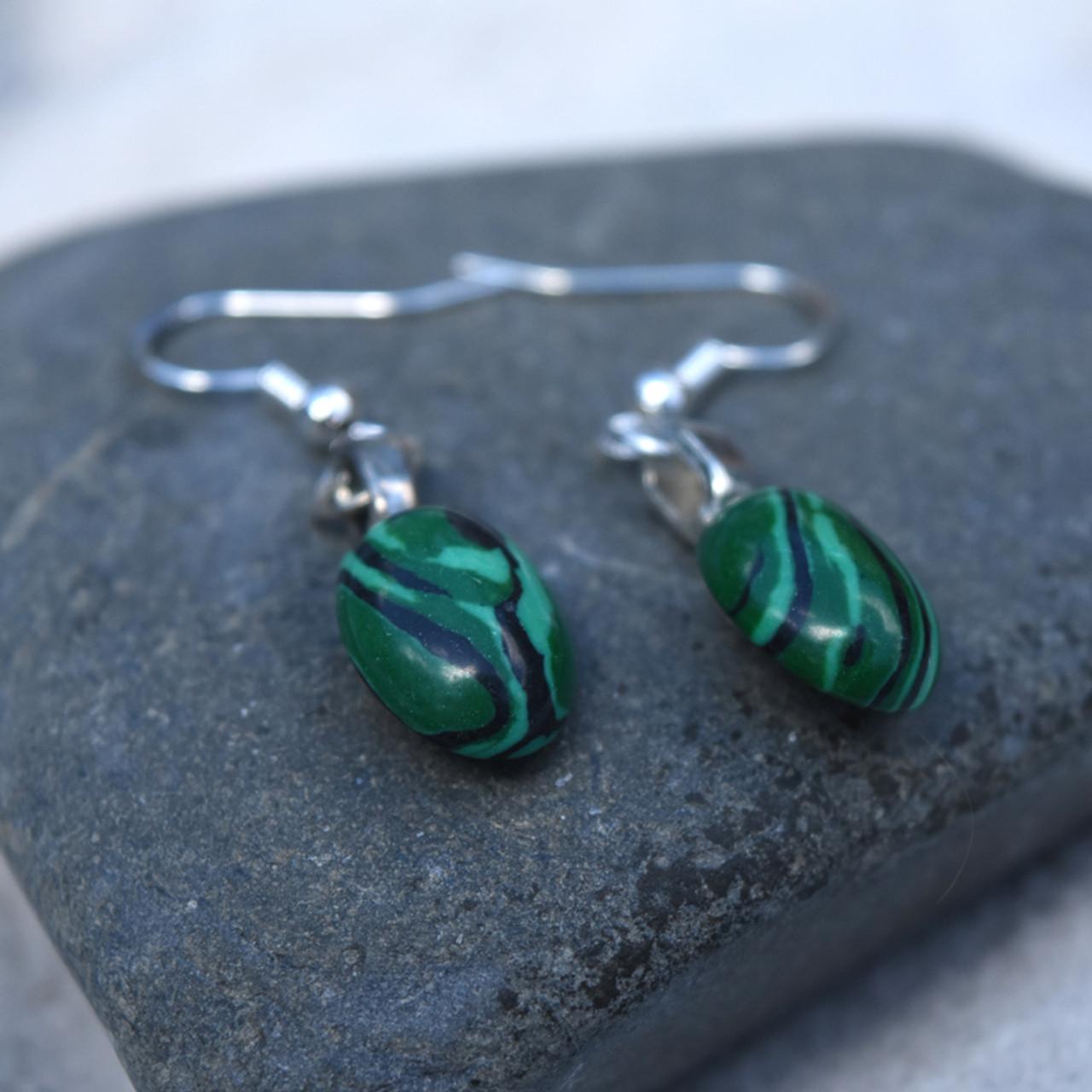 Malachite Cabachon Earrings