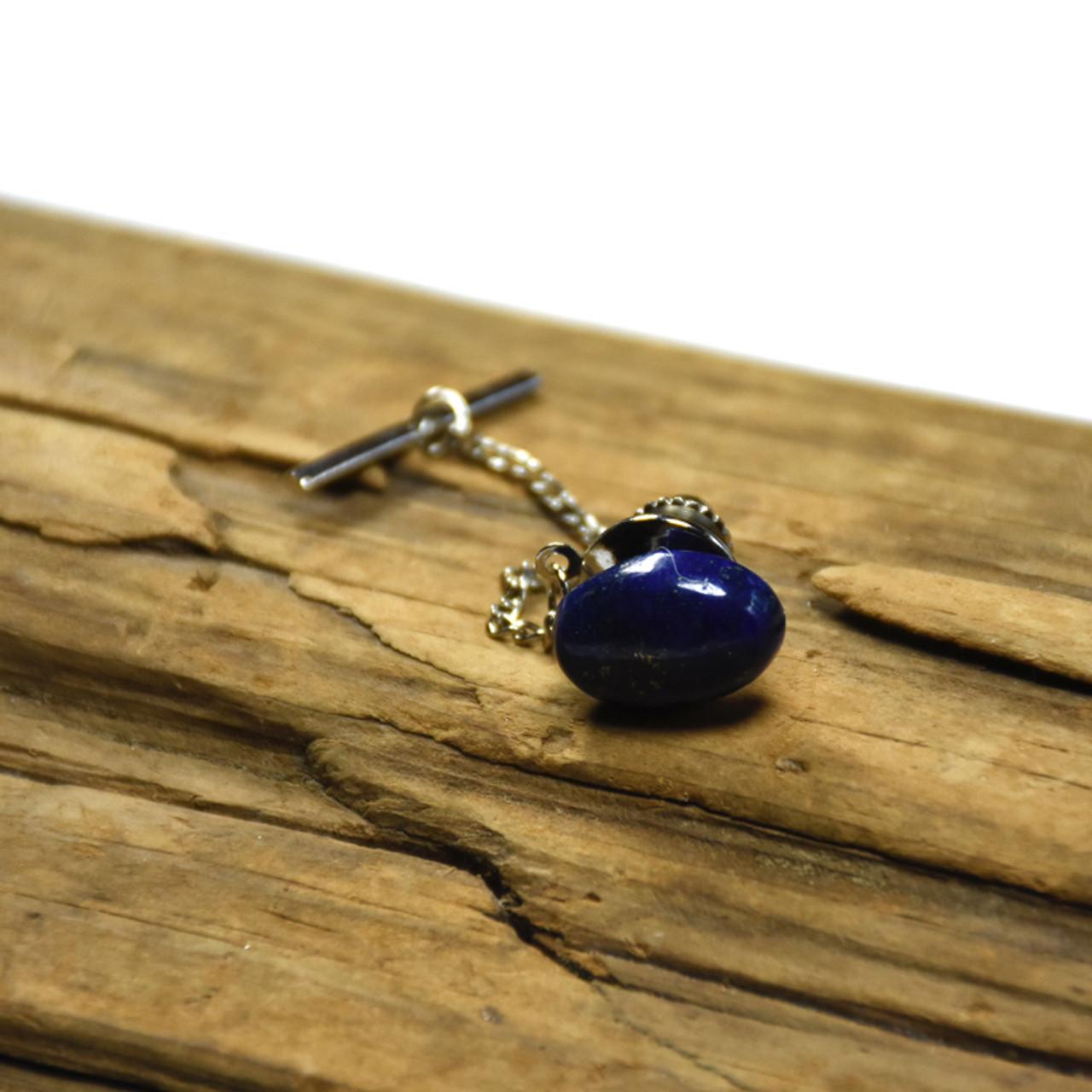 Lapis Lazuli Cabochon Stone Tie Tack Handmade - Quantity of 1 - Made to Order