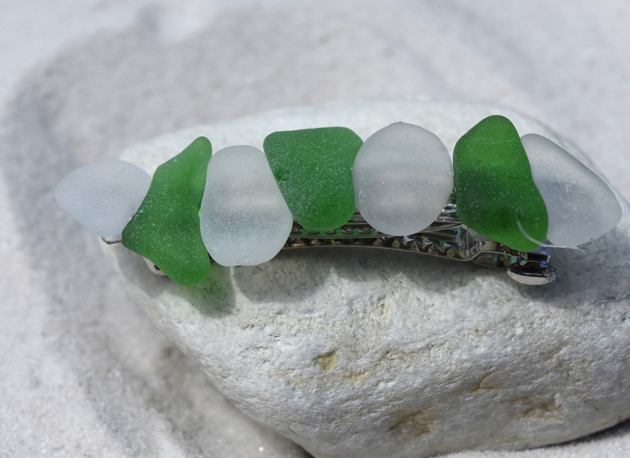 Frosted White and Kelly Green Sea Glass French Barrette - 60 mm