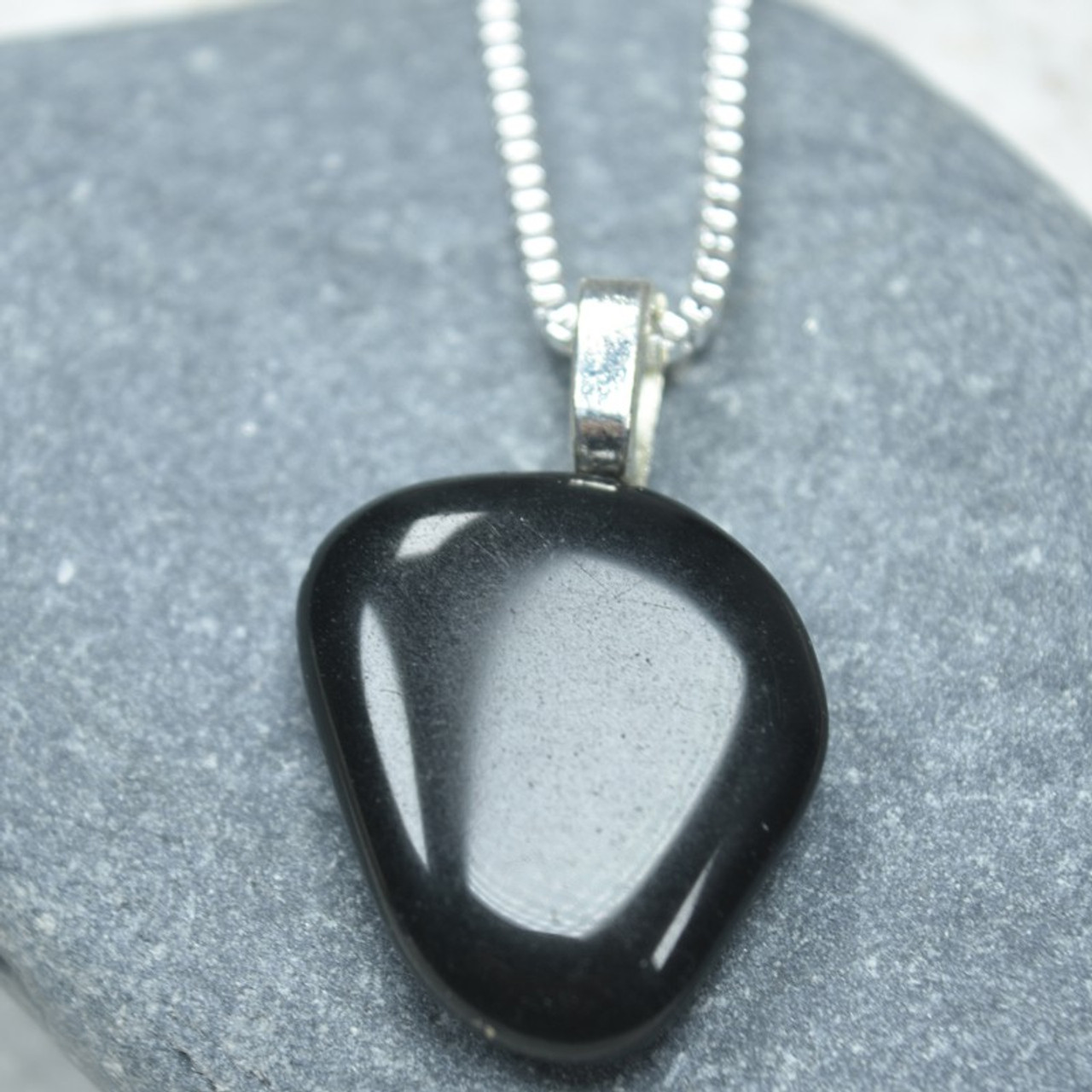 Apache Tears Stone Necklace - Made to Order - Choose Sterling Silver Chain or Leather Cord - Quantity of 1