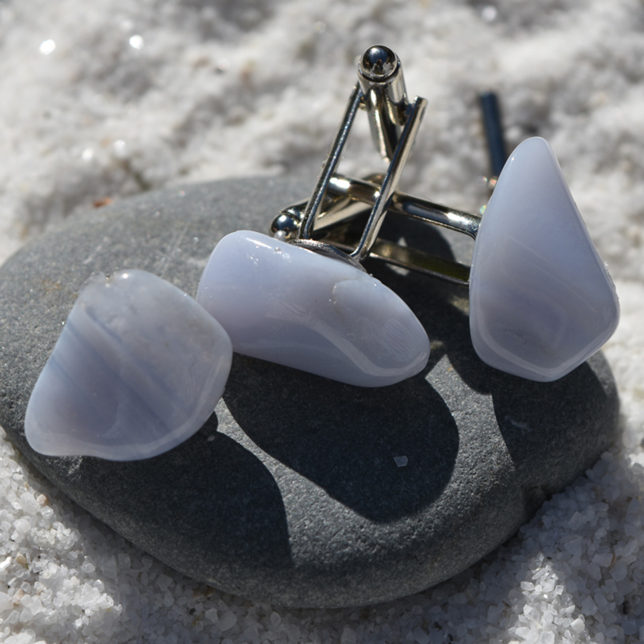 Blue Lace Agate Stone Cufflinks and Tie Tack Set
