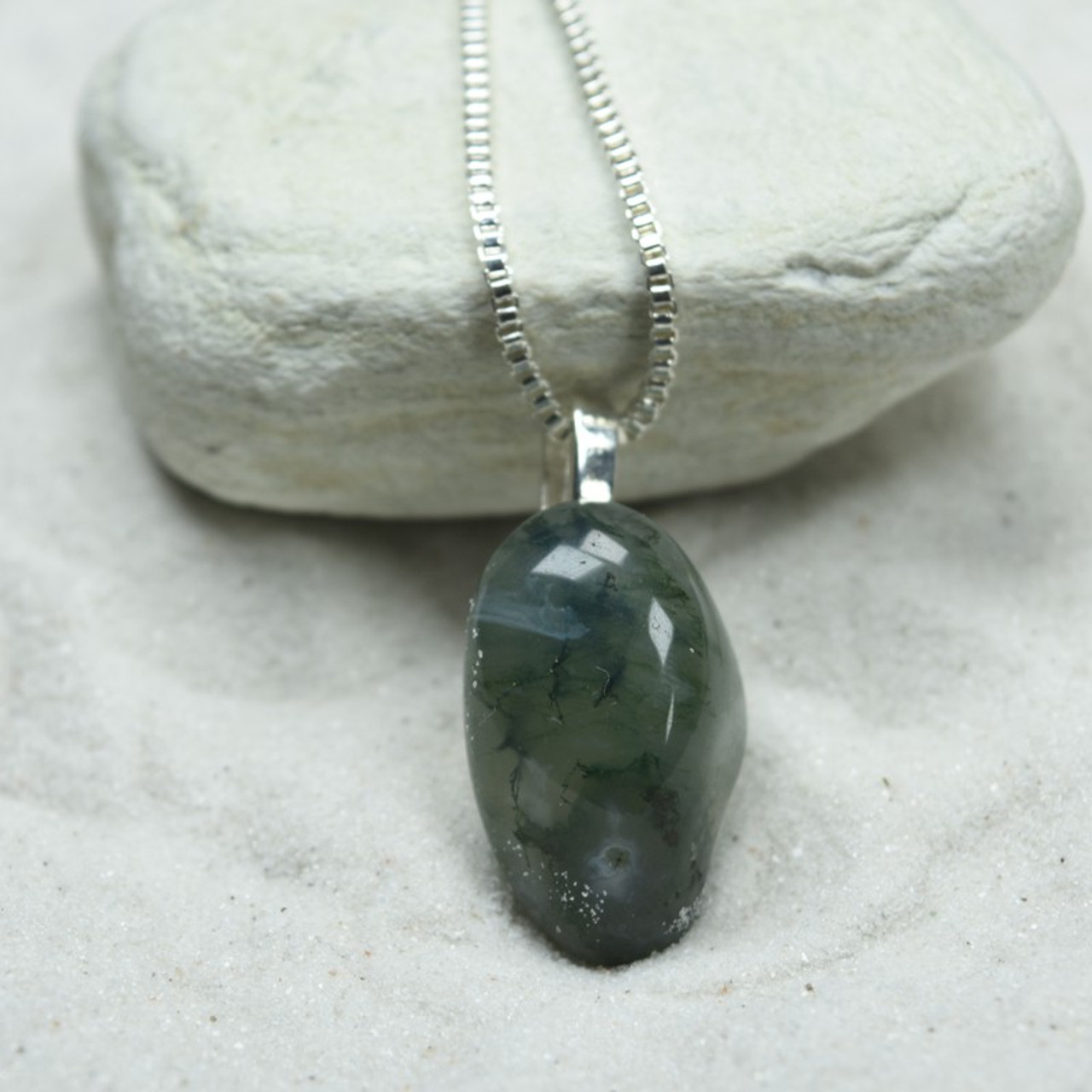 Tumbled Green Moss Agate Pendant