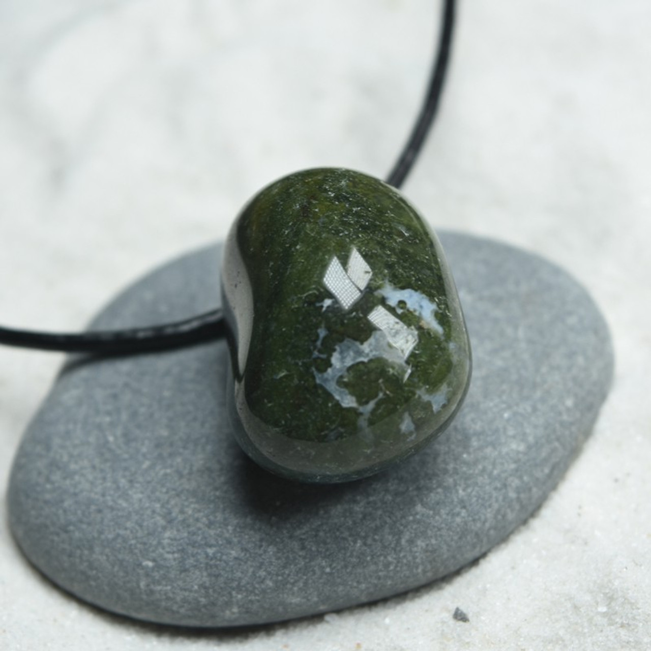 Tumbled Green Moss Agate Necklace
