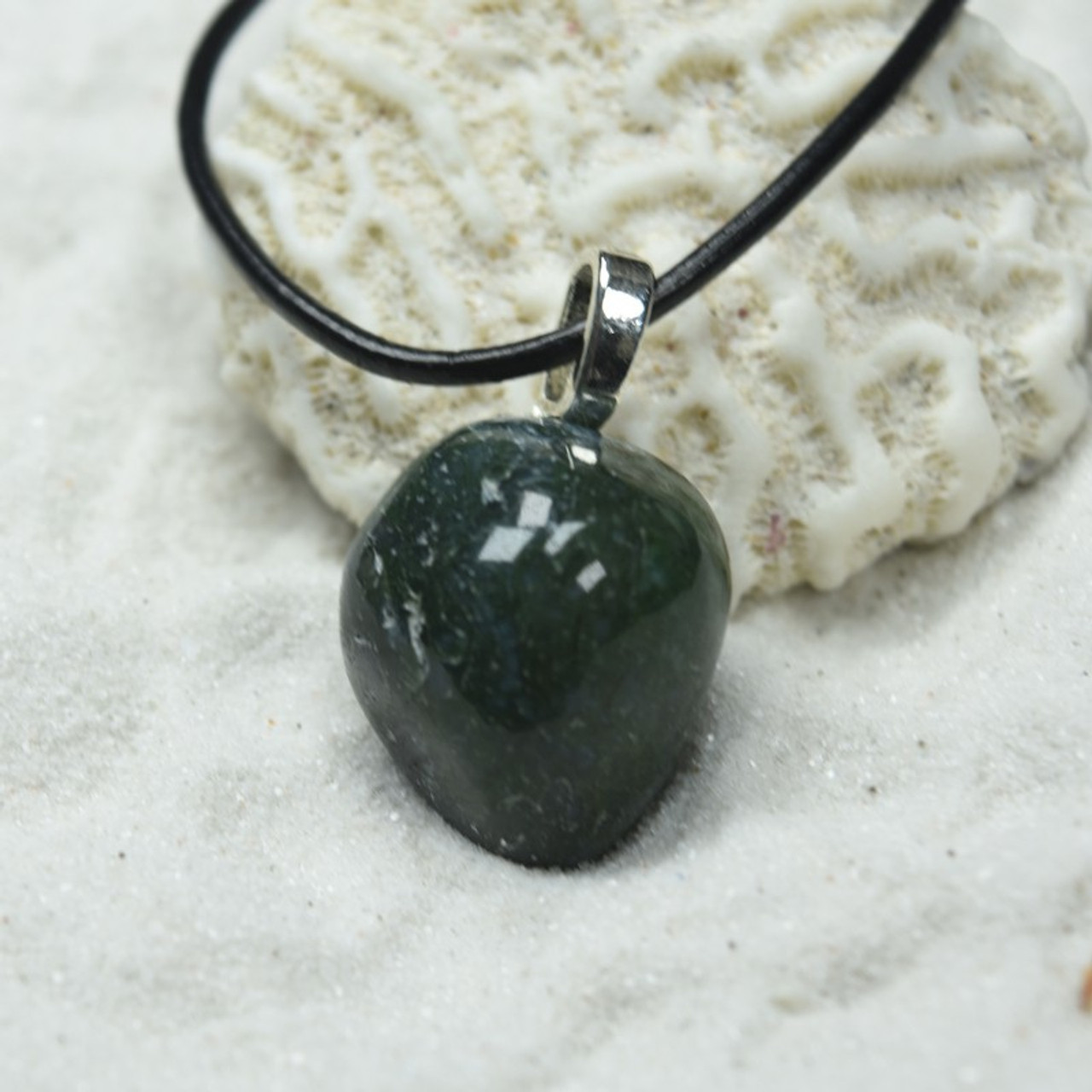 Green Moss Agate Pendant and Necklace