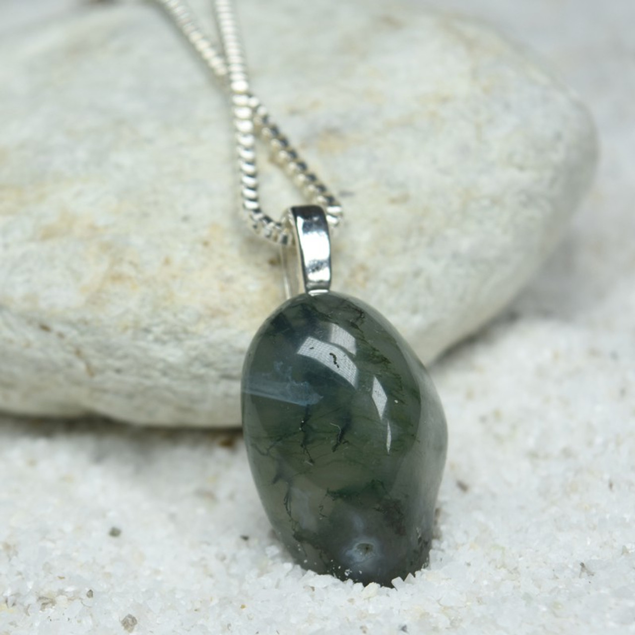 Tumbled Green Moss Agate Pendant and Necklace
