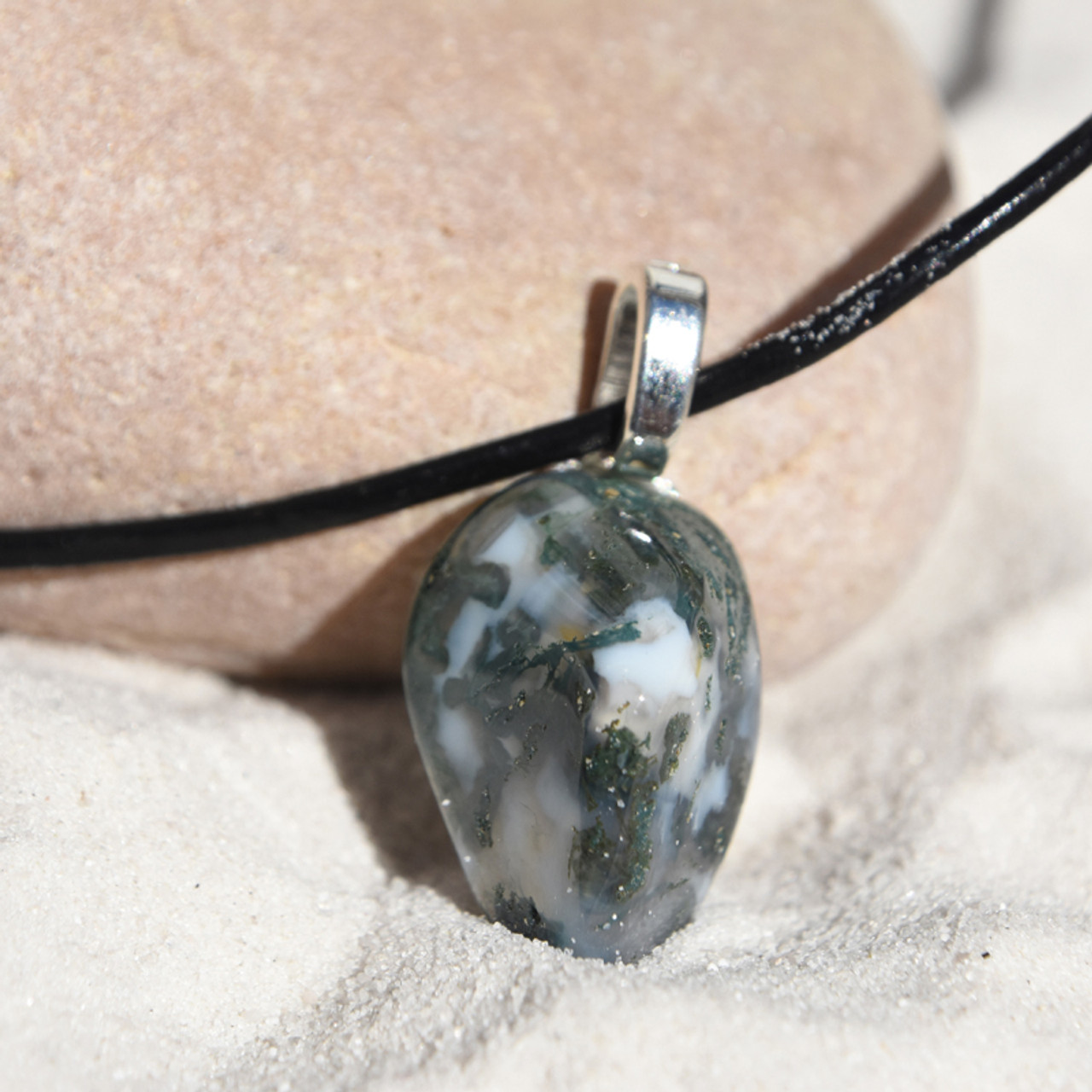 Tumbled Green Moss Agate Pendant and Necklace - Choose Sterling Silver Chain or Leather Cord - Quantity of 1 - Made to Order