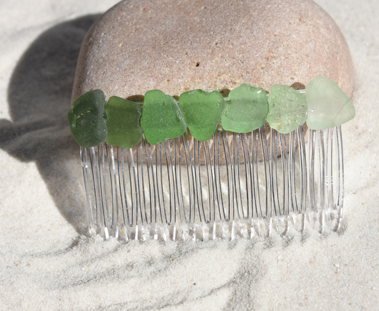 Shades of Green Sea Glass Hair Comb