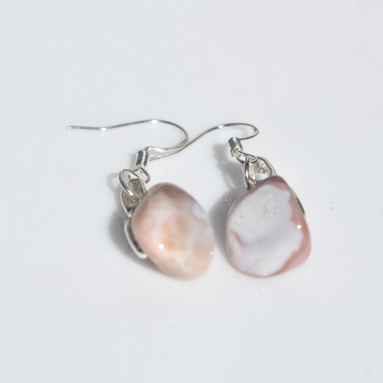 Pink Botswana Agate Earrings