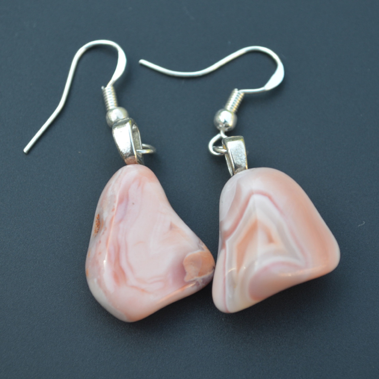 Tumbled Pink Botswana Agate Dangling Earrings - 1 Set - Made to Order