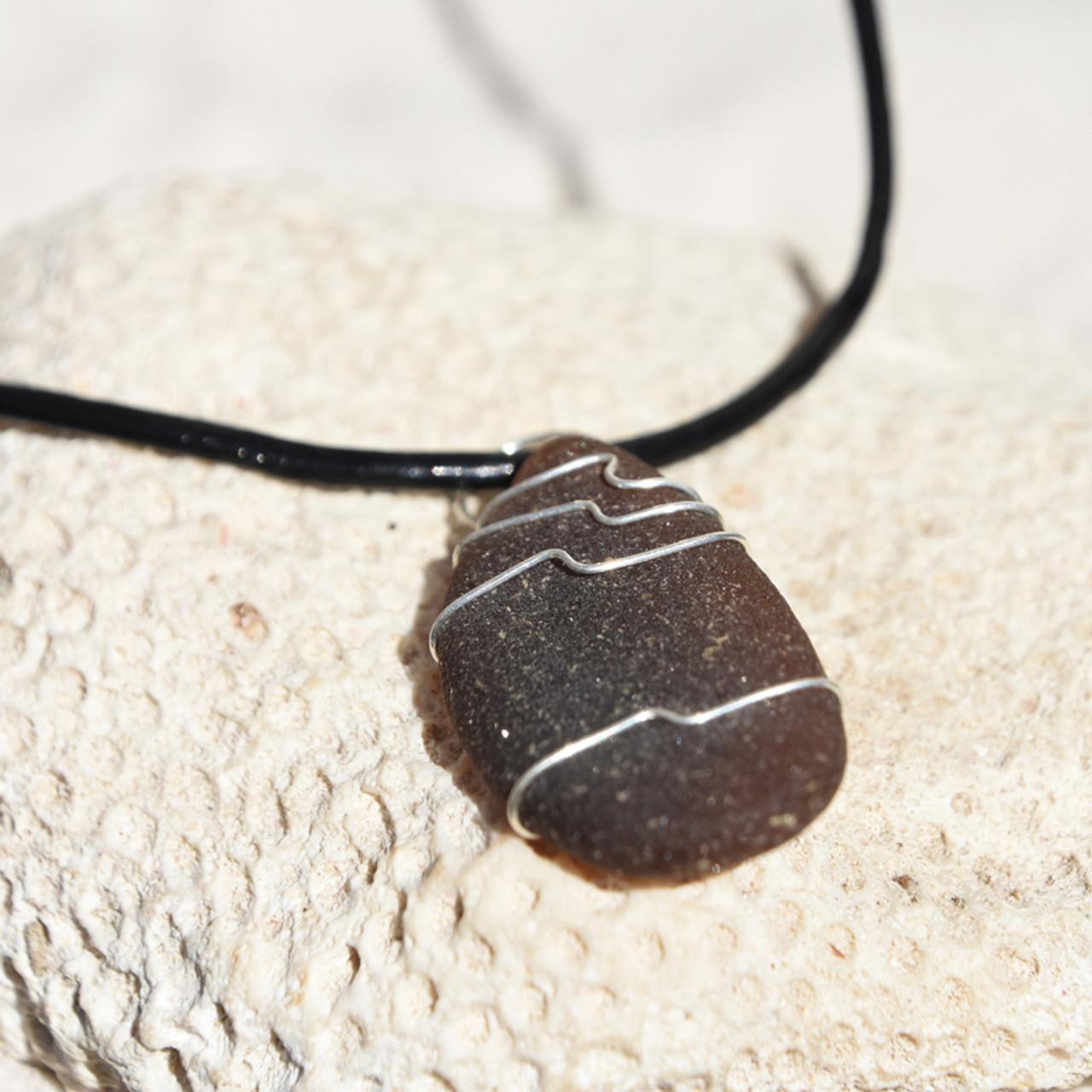 Cocoa Brown Sea Glass Necklace