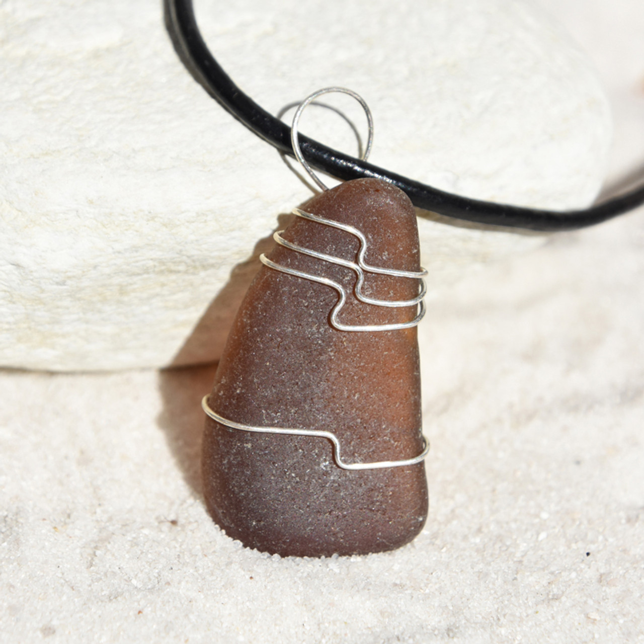 Brown Sea Glass Necklace