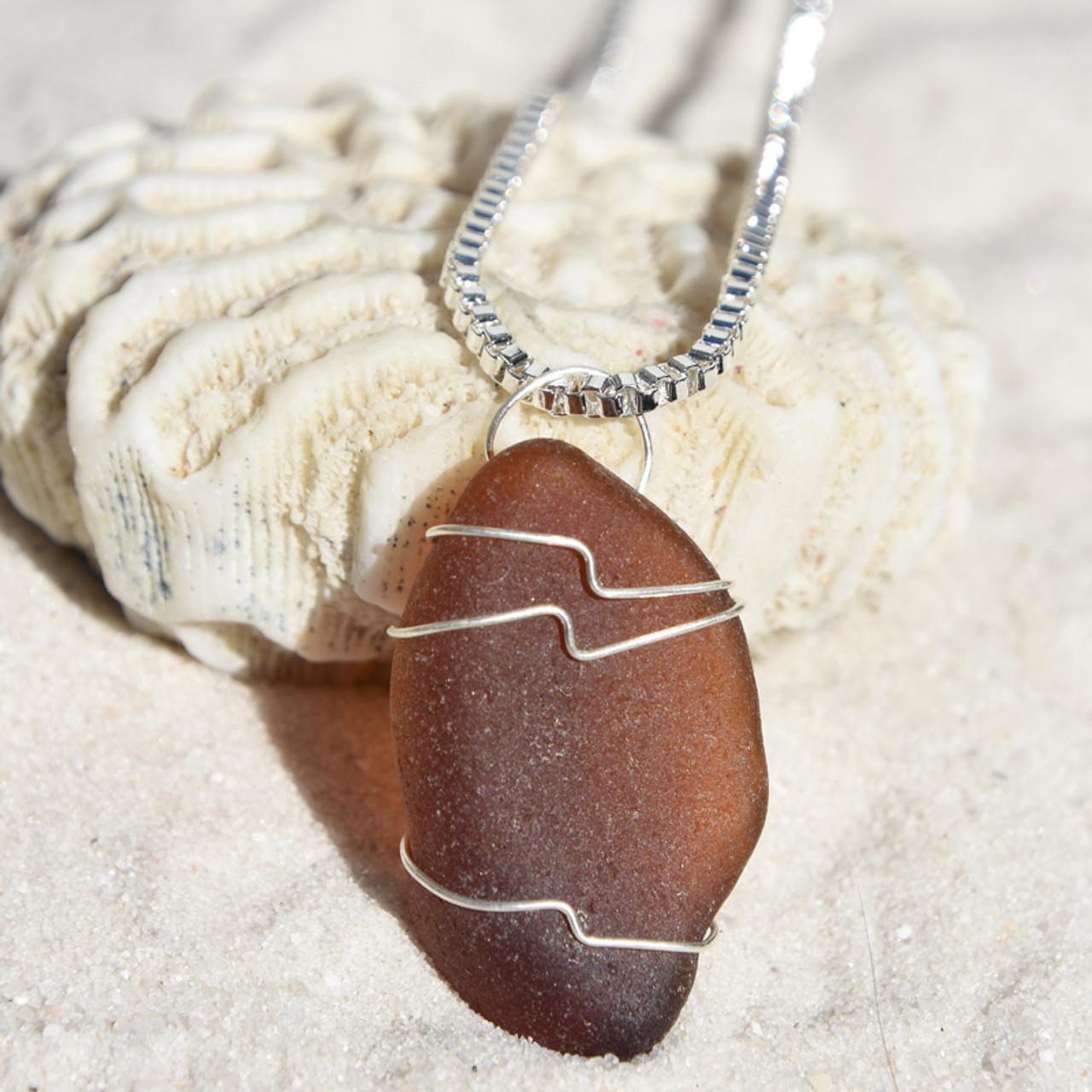Cocoa Brown Sea Glass Pendant