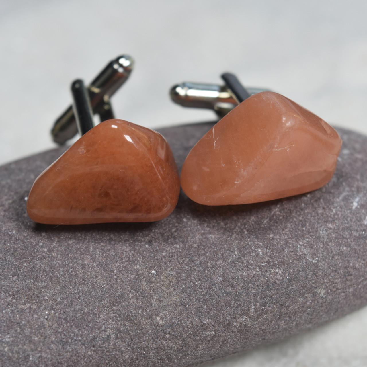 Tumbled Peach Quartz Cufflinks