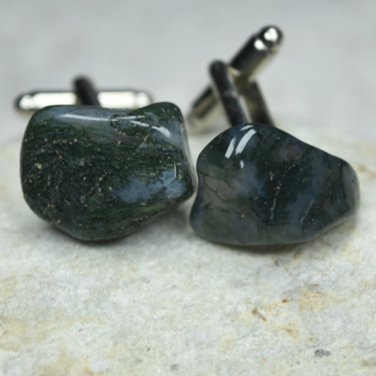 Green Moss Agate Stone Cufflinks