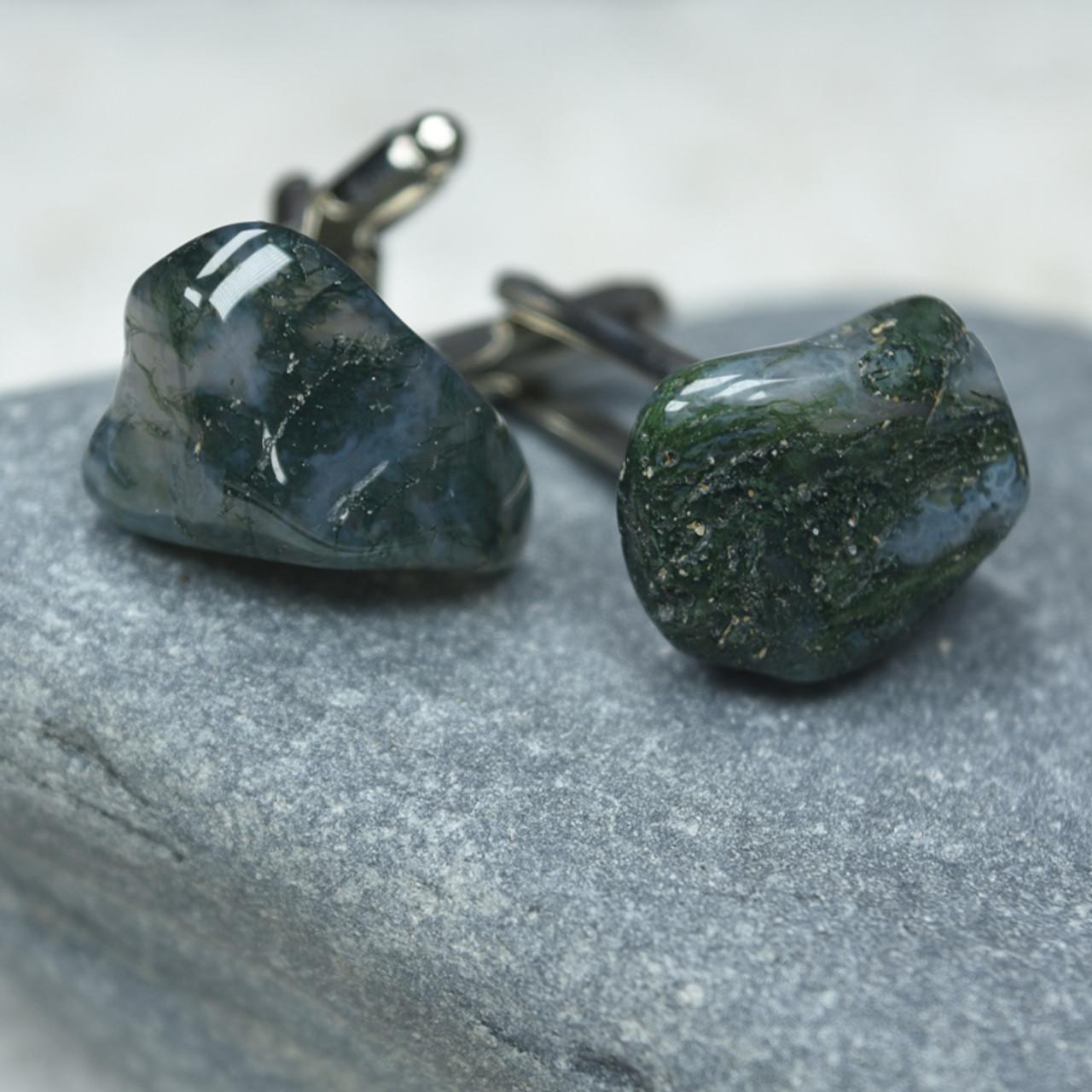 Moss Agate Stone Cufflinks