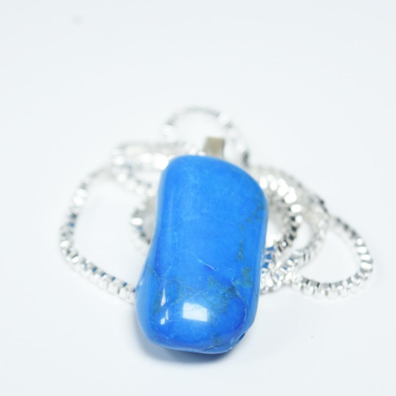 Tumbled Blue Howlite Stone Necklace