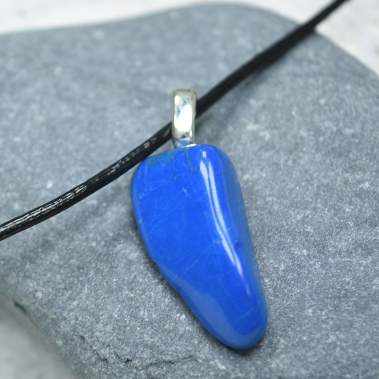 Tumbled Blue Howlite Stone Pendant