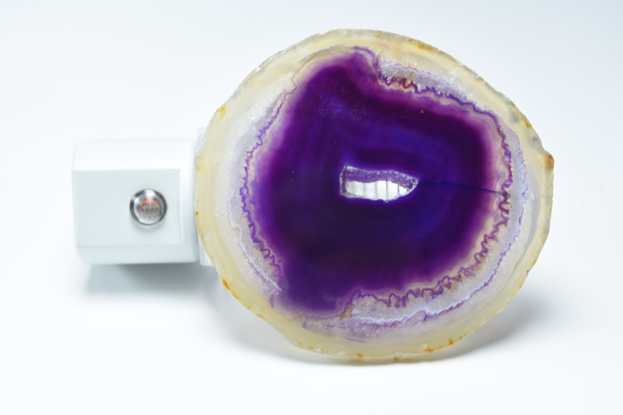Motion Activated Purple Agate Slice Night Light