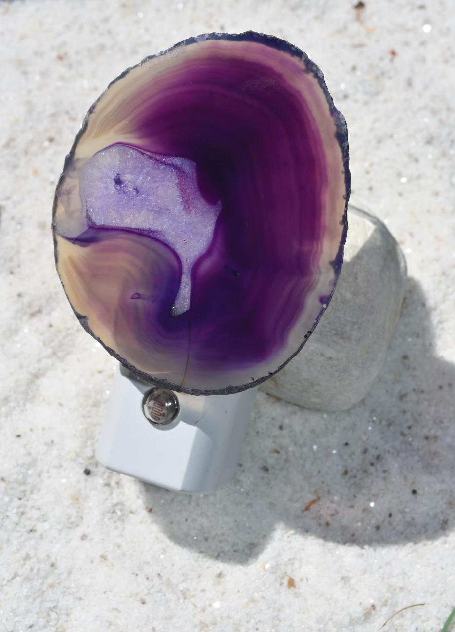 Purple Agate Slice Night Light