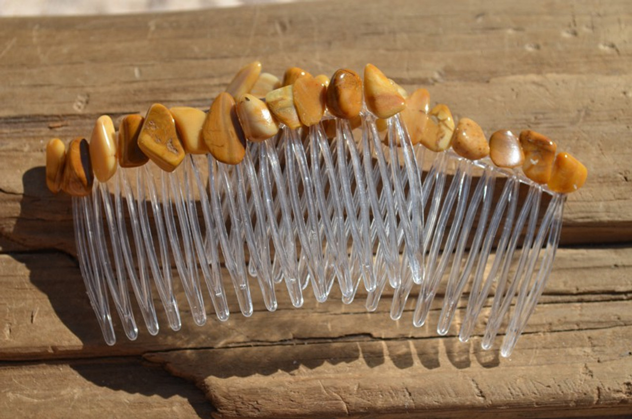 Yellow Jasper Stone Hair Combs
