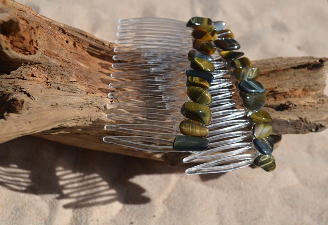 Tiger's Eye Stone Hair Combs