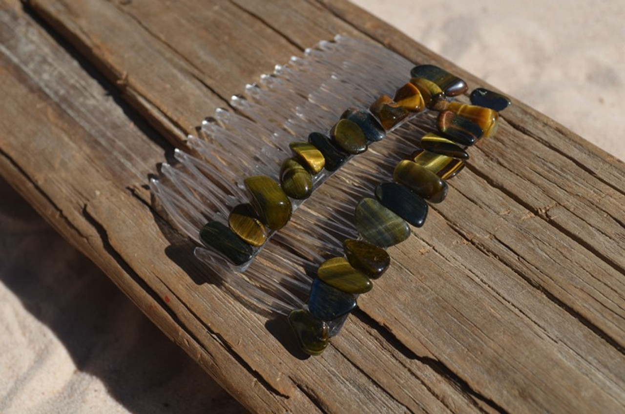 Tiger's Eye Stone Hair Combs (Quantity of 2) - Made to Order