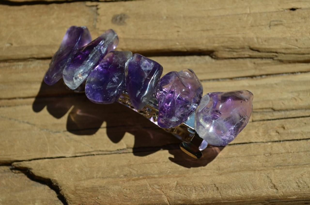 Purple Amethyst Stone French Barrette Hair Clip