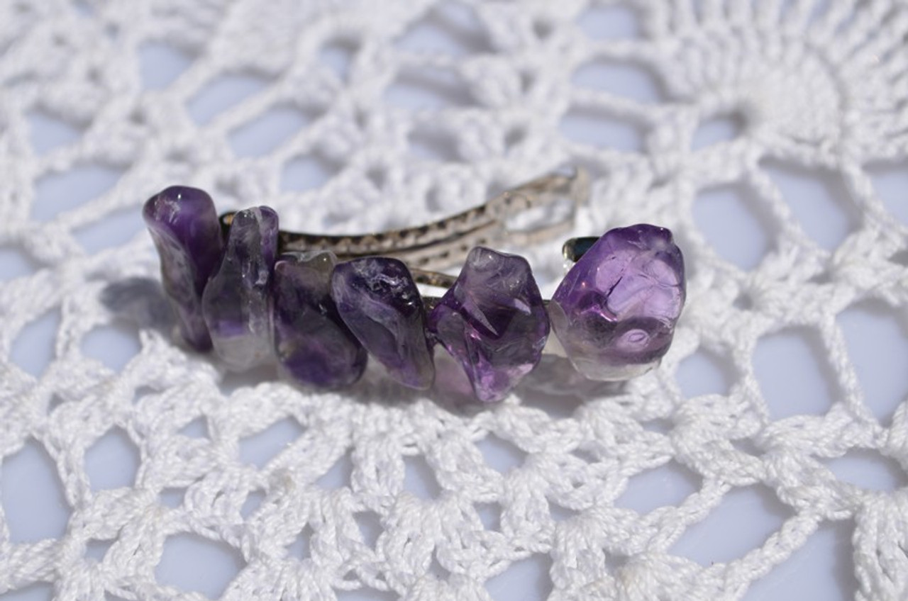 Purple Amethyst Stone French Barrette Hair Clip - 60 MM - Made to Order