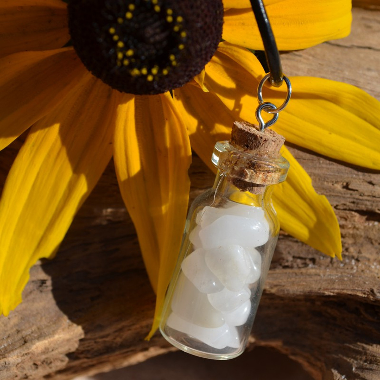 Snow Quartz Stones in a Glass Vial on a Leather Cord Necklace - Made to Order