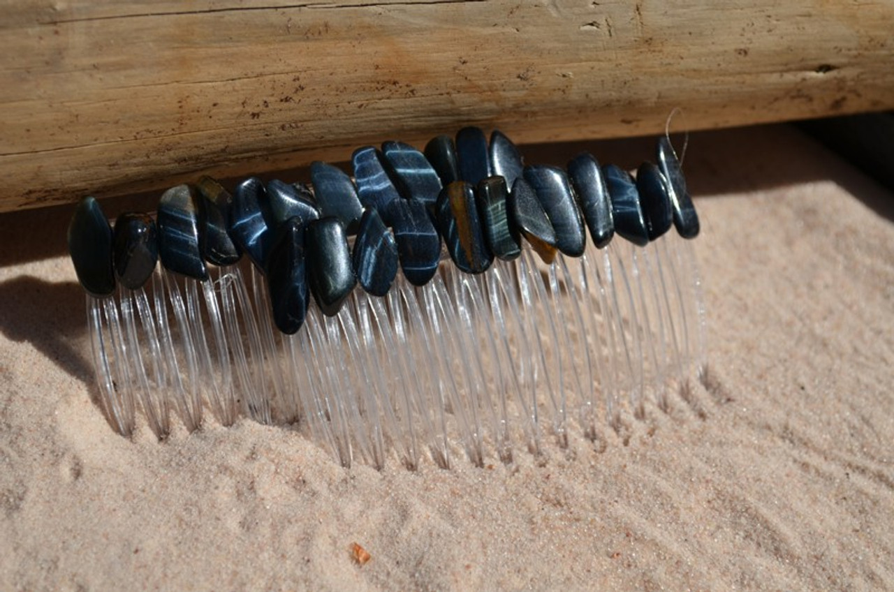 Blue Tiger's Eye Stone Hair Combs