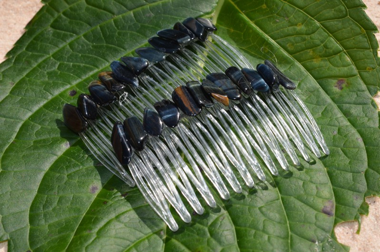Blue Tiger's Eye Stone Hair Combs (Quantity of 2) - Made to Order