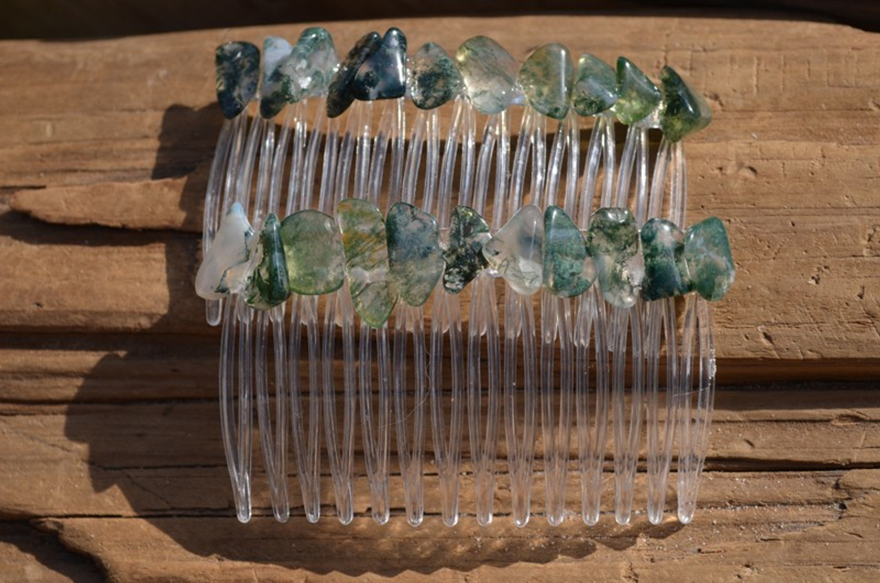 Green Moss Agate Stone Hair Combs