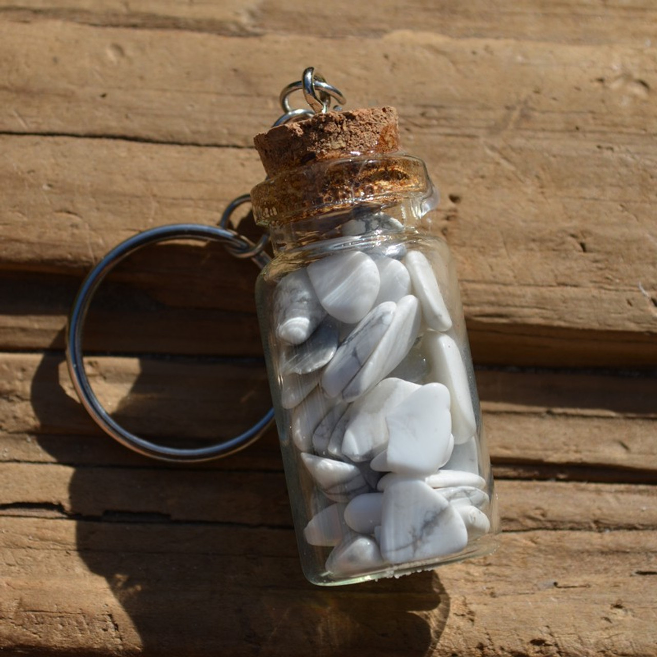 White Howlite Stones in a Glass Vial Keychain
