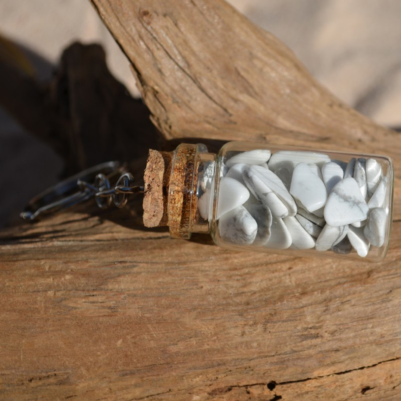 White Howlite Stones in a Glass Vial Keychain - Made to Order
