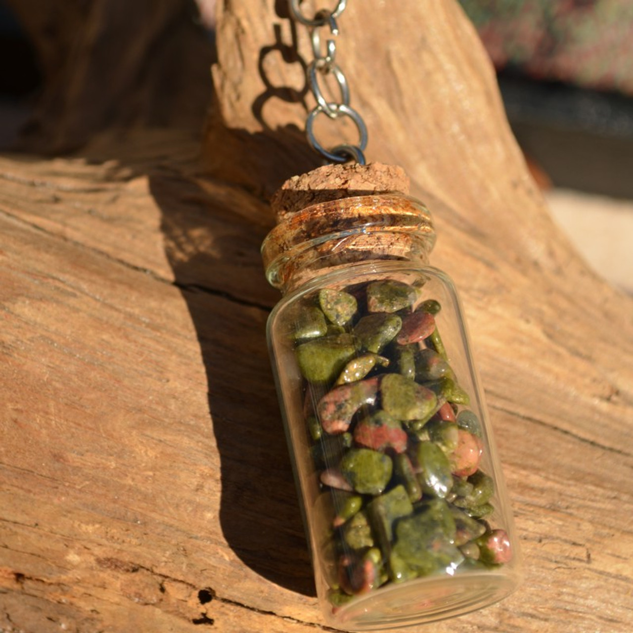 Unakite Jasper Stones in a Glass Vial Keychain - Made to Order