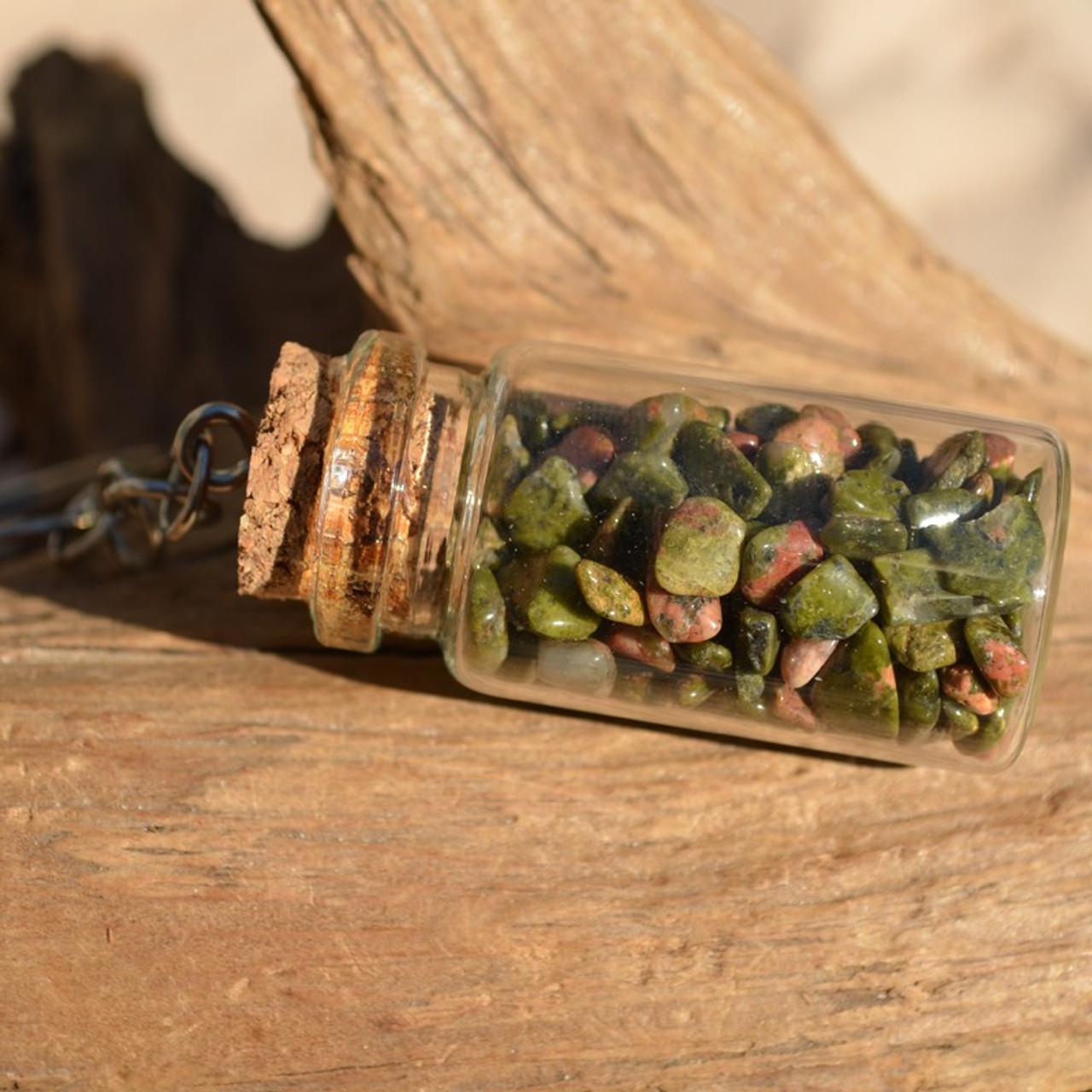 Unakite Jasper Stones in a Glass Vial Keychain