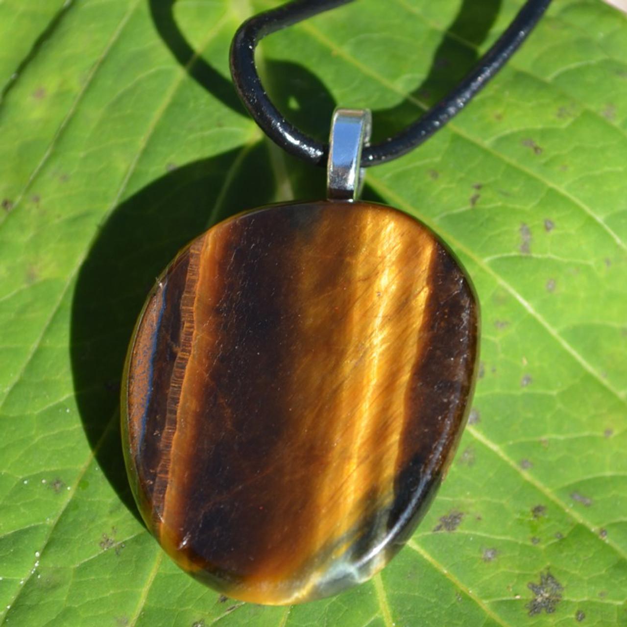 Gold Tiger's Eye Palm Stone Necklace
