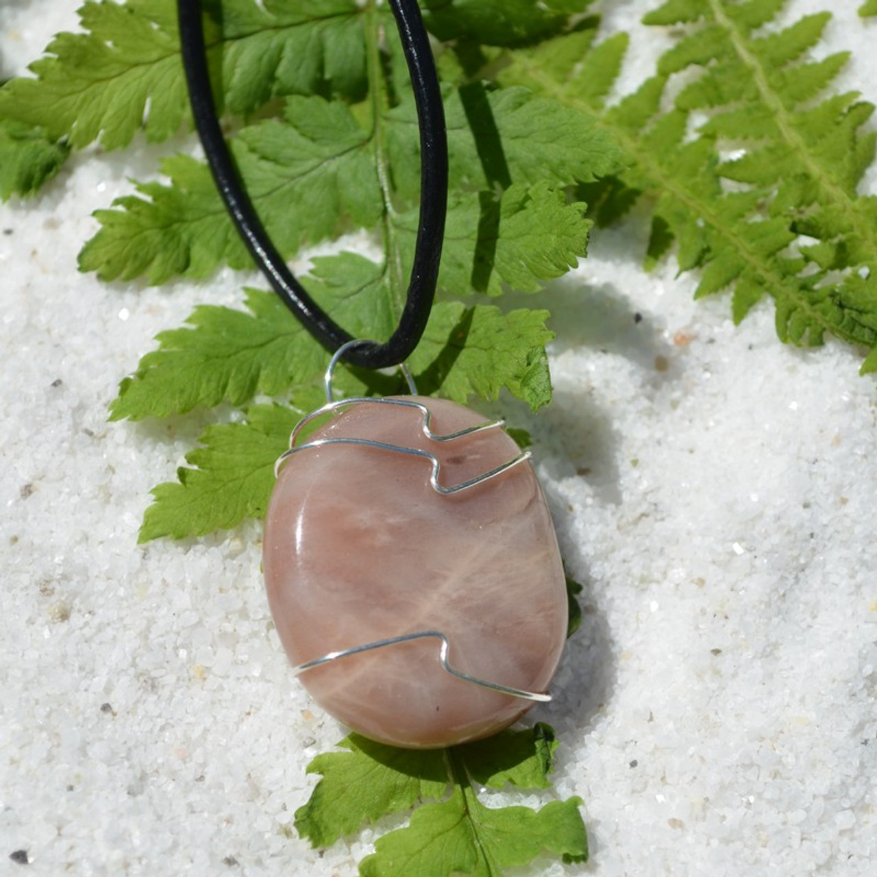 Moonstone Palm Stone Hand Wire Wrapped on a Leather Thong Necklace - Made to Order
