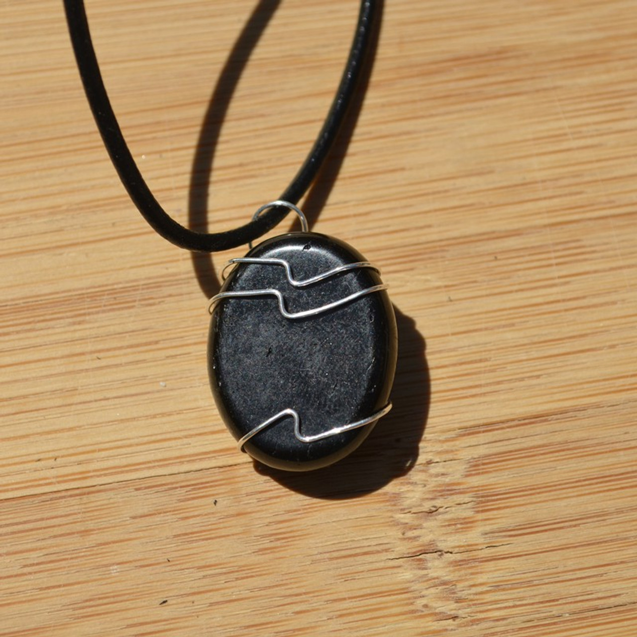Apache Tears Palm Stone Hand Wire Wrapped on a Leather Thong Necklace - Made to Order