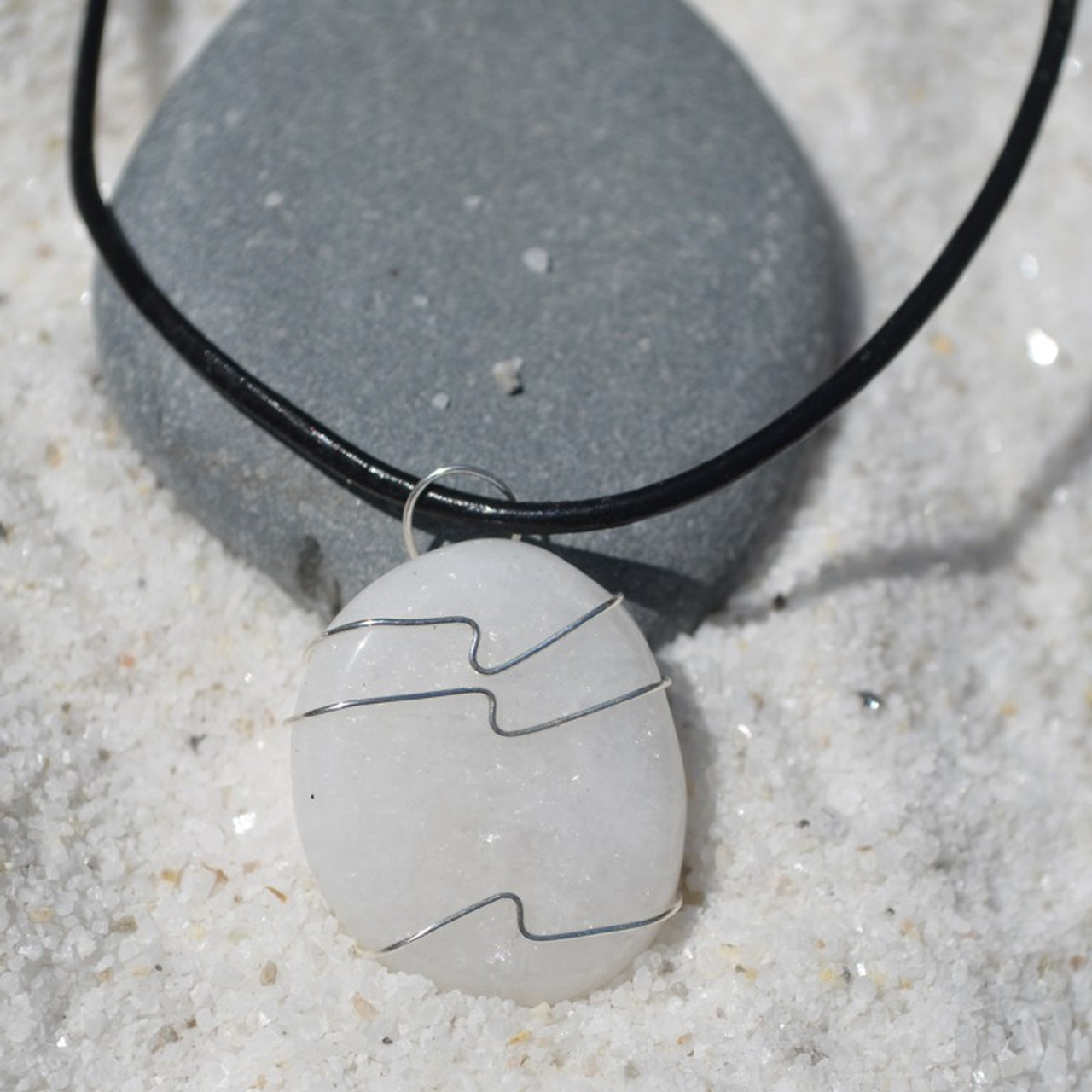 White Jade Palm Stone Hand Wire Wrapped on a Leather Thong Necklace
