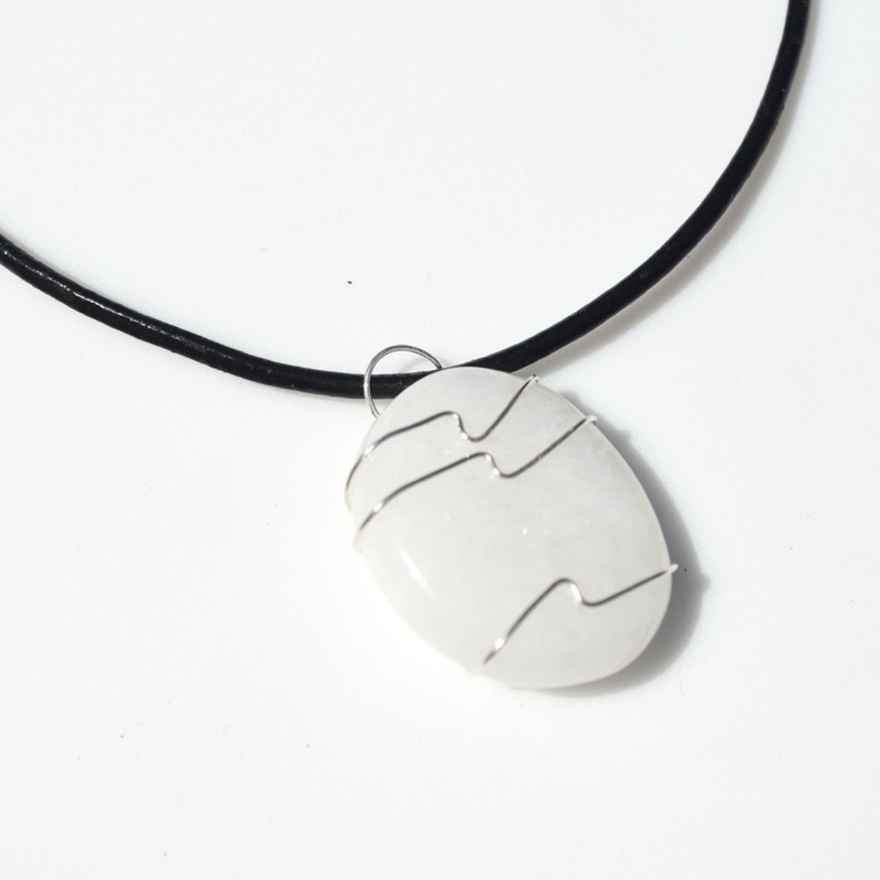 White Jade Palm Stone Hand Wire Wrapped on a Leather Thong Necklace - Made to Order
