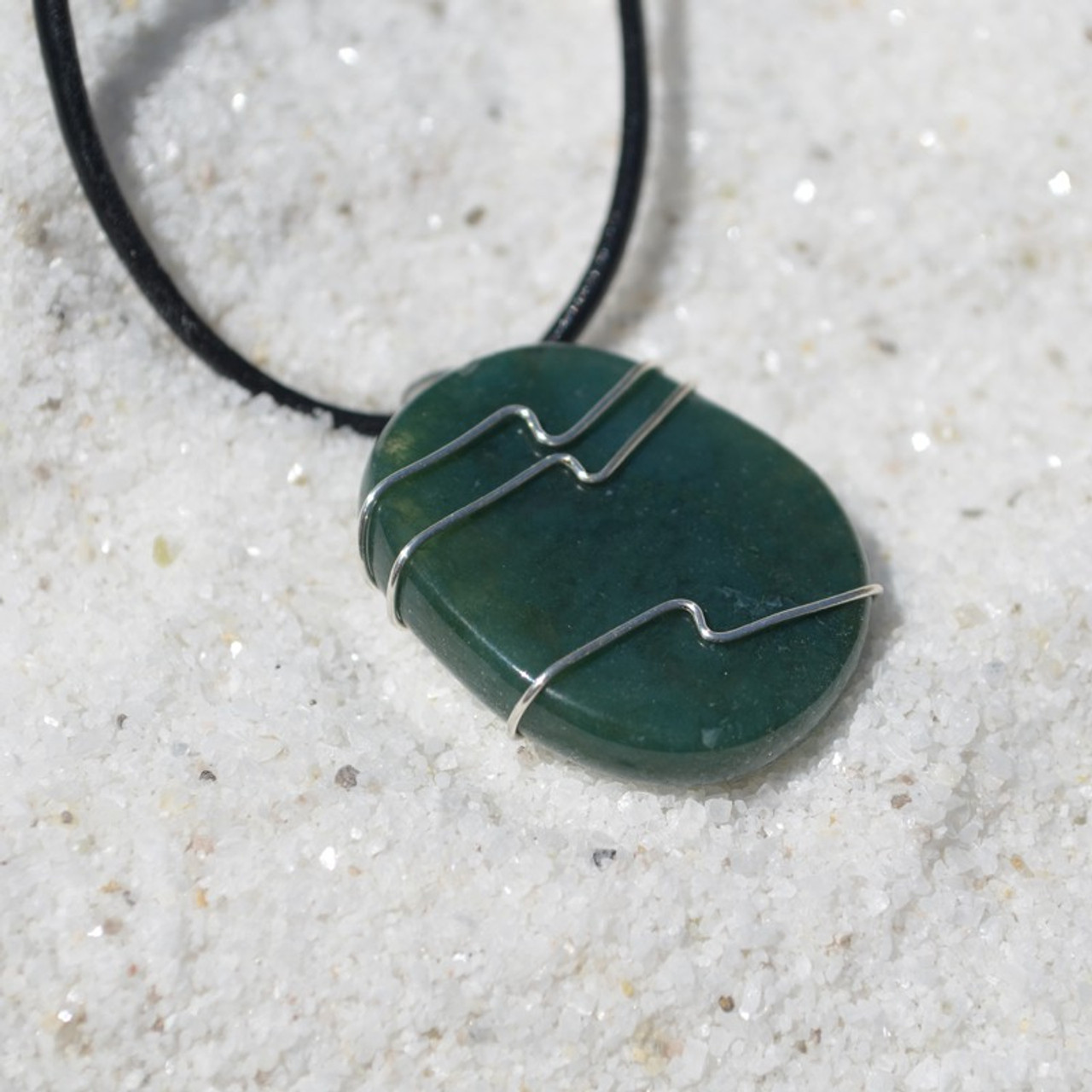 Green Moss Agate Palm Stone Hand Wire Wrapped on a Leather Thong Necklace - Made to Order
